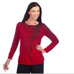 Bob Mackie Tribal Feather Beaded Pullover plus !G